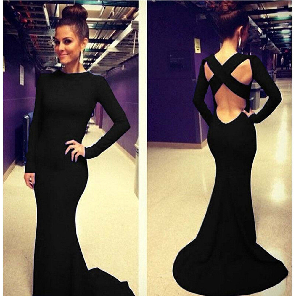 Sexy Women Backless Prom Gown Bodycon Ball Party Evening Formal Maxi Long Dress Black - Mega Save Wholesale & Retail