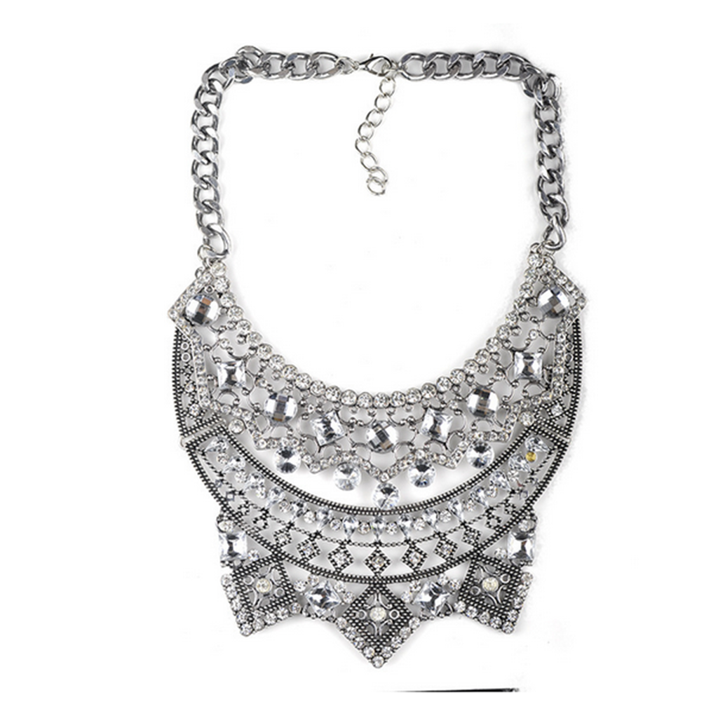 New European Style Necklace Foreign Trade Original Order Alloy Zircon Big Brand Exaggerated Woman Necklace  silver - Mega Save Wholesale & Retail