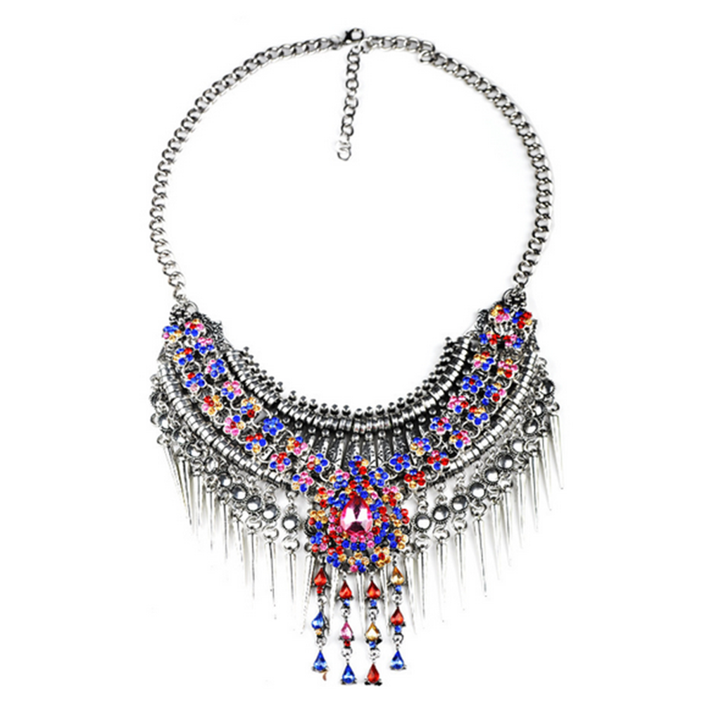 European Exaggerated Big Brand Foreign Trade Necklace Vintage Zircon Flower Tassel Two-layer Necklace Woman   old silver colorful zircon - Mega Save Wholesale & Retail