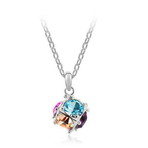 Korean jewelry wholesale crystal ball colorful crystal necklace - Love Cube 1111-46   Silver  color - Mega Save Wholesale & Retail