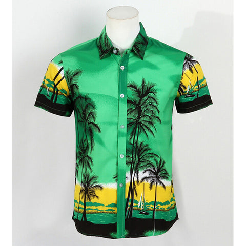 Hot LARGE SIZE Men Aloha Shirt Cruise Tropical Luau Beach Hawaiian Party Palm Fluorescent green  plus fat version - Mega Save Wholesale & Retail