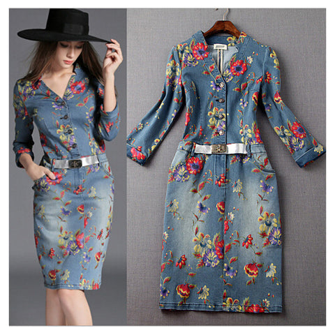 Fashion New Women's Washed Denim Dress Long Slim Casual Jean Dresses Floral printed S - Mega Save Wholesale & Retail - 1