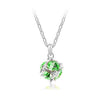 Korean jewelry wholesale crystal ball colorful crystal necklace - Love Cube 1111-46   Silver  fruit green - Mega Save Wholesale & Retail
