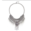 European Exaggerated Big Brand Foreign Trade Necklace Vintage Zircon Flower Tassel Two-layer Necklace Woman    old silver black zircon - Mega Save Wholesale & Retail