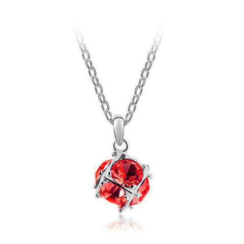 Korean jewelry wholesale crystal ball colorful crystal necklace - Love Cube 1111-46   Silver  red - Mega Save Wholesale & Retail
