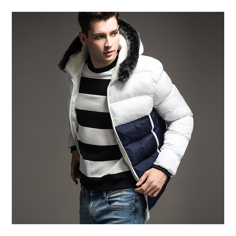 Man Contrast Color Hoodied Slim Cotton Coat   white  M - Mega Save Wholesale & Retail - 2
