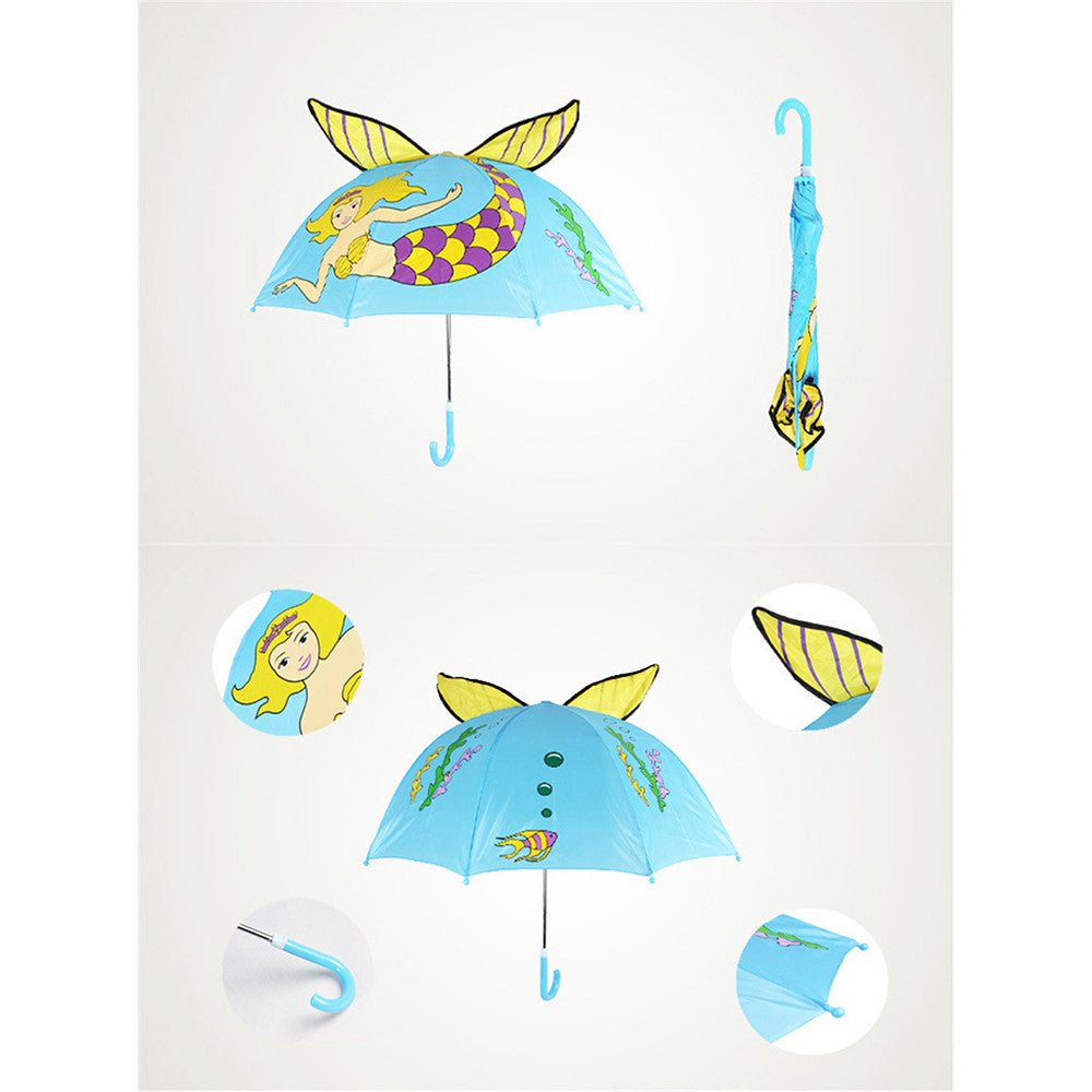 Cute Cartoon Animal Umbrella for Kids Animal Ears Bend Handle   Mermaid - Mega Save Wholesale & Retail