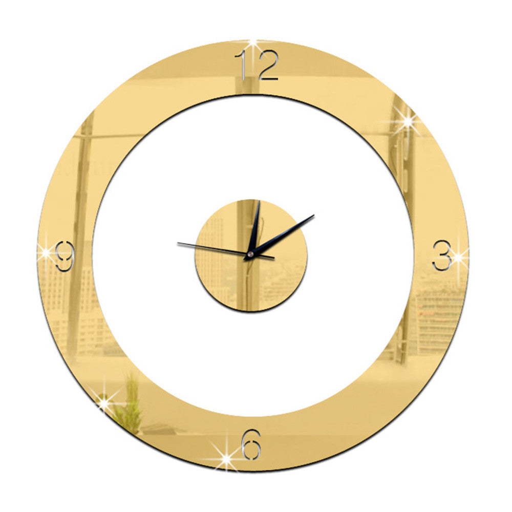 Home Decoration Wall Clock 3D Mirror Circle Sticking   golden - Mega Save Wholesale & Retail