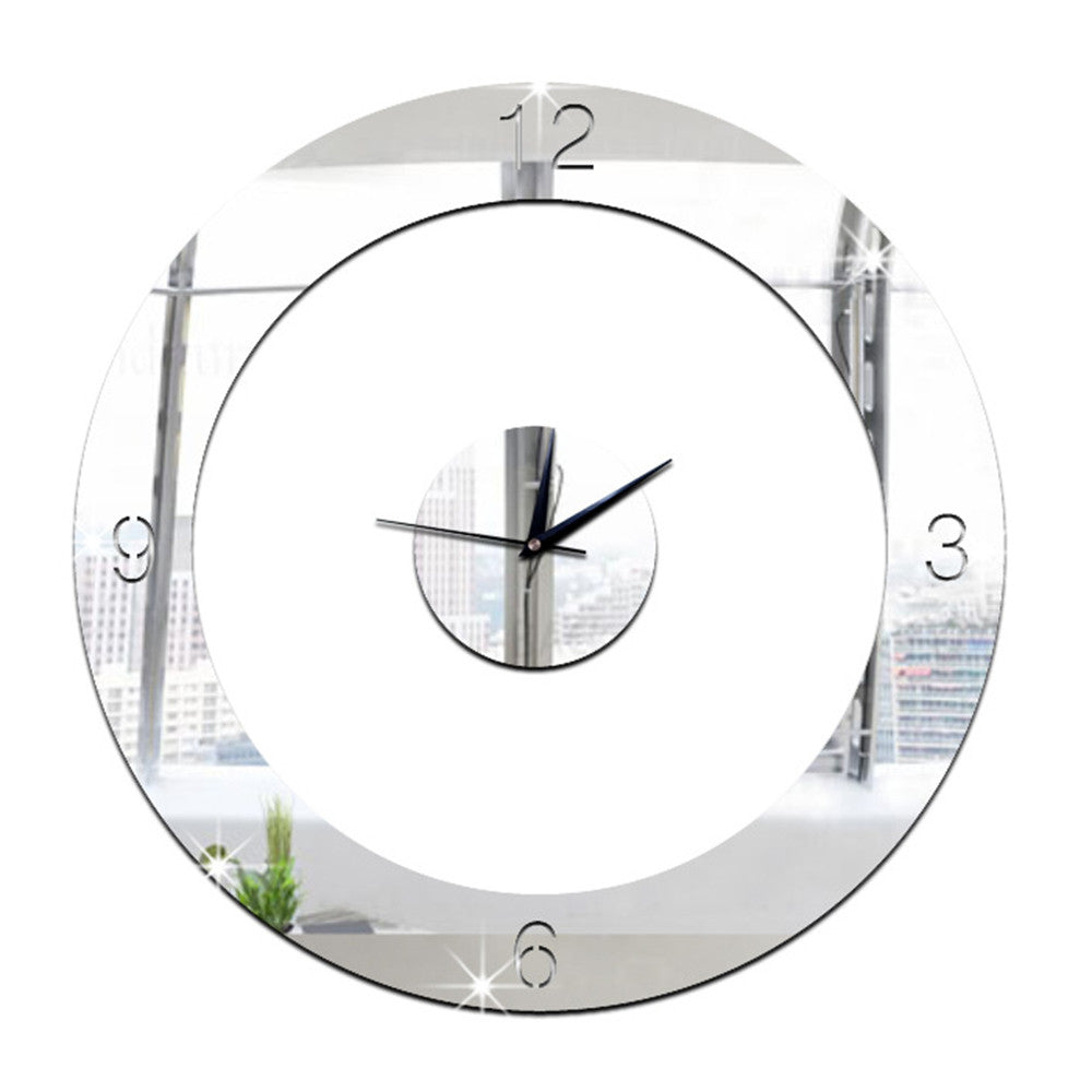 Home Decoration Wall Clock 3D Mirror Circle Sticking    silver - Mega Save Wholesale & Retail