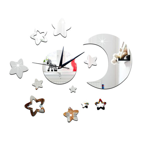 Living Room Wall Clock 3D Moon Star Mirror   silver - Mega Save Wholesale & Retail