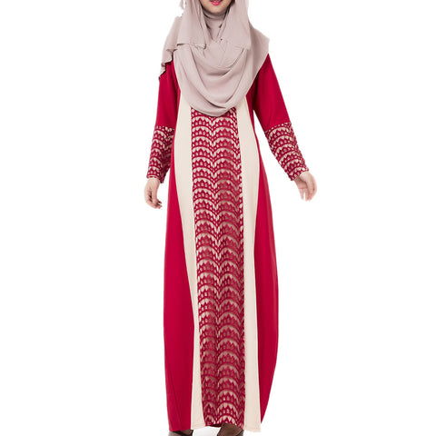 Arabian Robe Middle East Muslim Long Dress    red   M