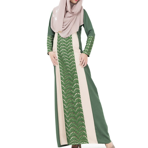 Arabian Robe Middle East Muslim Long Dress   green   M