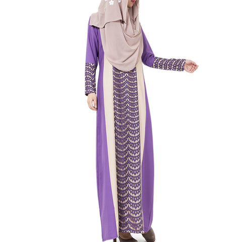 Arabian Robe Middle East Muslim Long Dress    purple   M