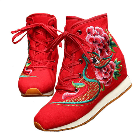 Vintage Beijing Cloth Shoes Embroidered Boots red - Mega Save Wholesale & Retail - 1
