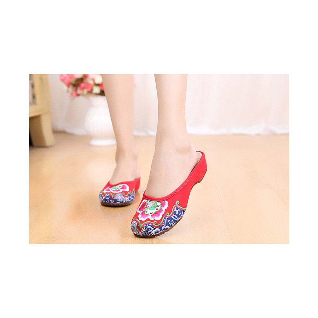 Old Beijing Cloth Shoes National Style Embroidered Shoes Flax Sandals Vintage Slippers Woman red - Mega Save Wholesale & Retail - 1