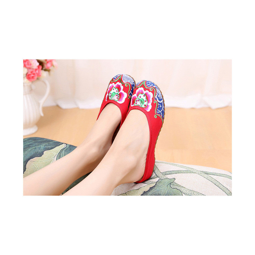 Old Beijing Cloth Shoes National Style Embroidered Shoes Flax Sandals Vintage Slippers Woman red - Mega Save Wholesale & Retail - 2