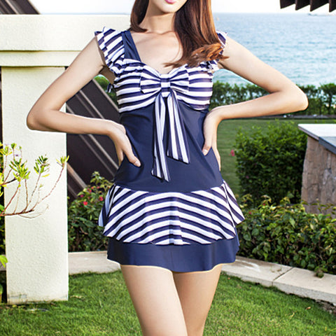 Back Hollow Siamesed Student Peplum Hotspring Swimwear Swimsuit  navy - Mega Save Wholesale & Retail - 1