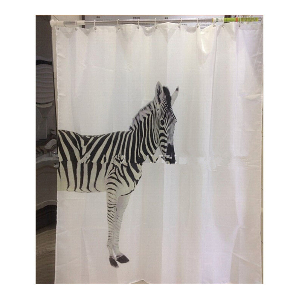 Black Tree White Fabric Bathroom Shower Curtain Polyester with 12 Hooks - Mega Save Wholesale & Retail - 10