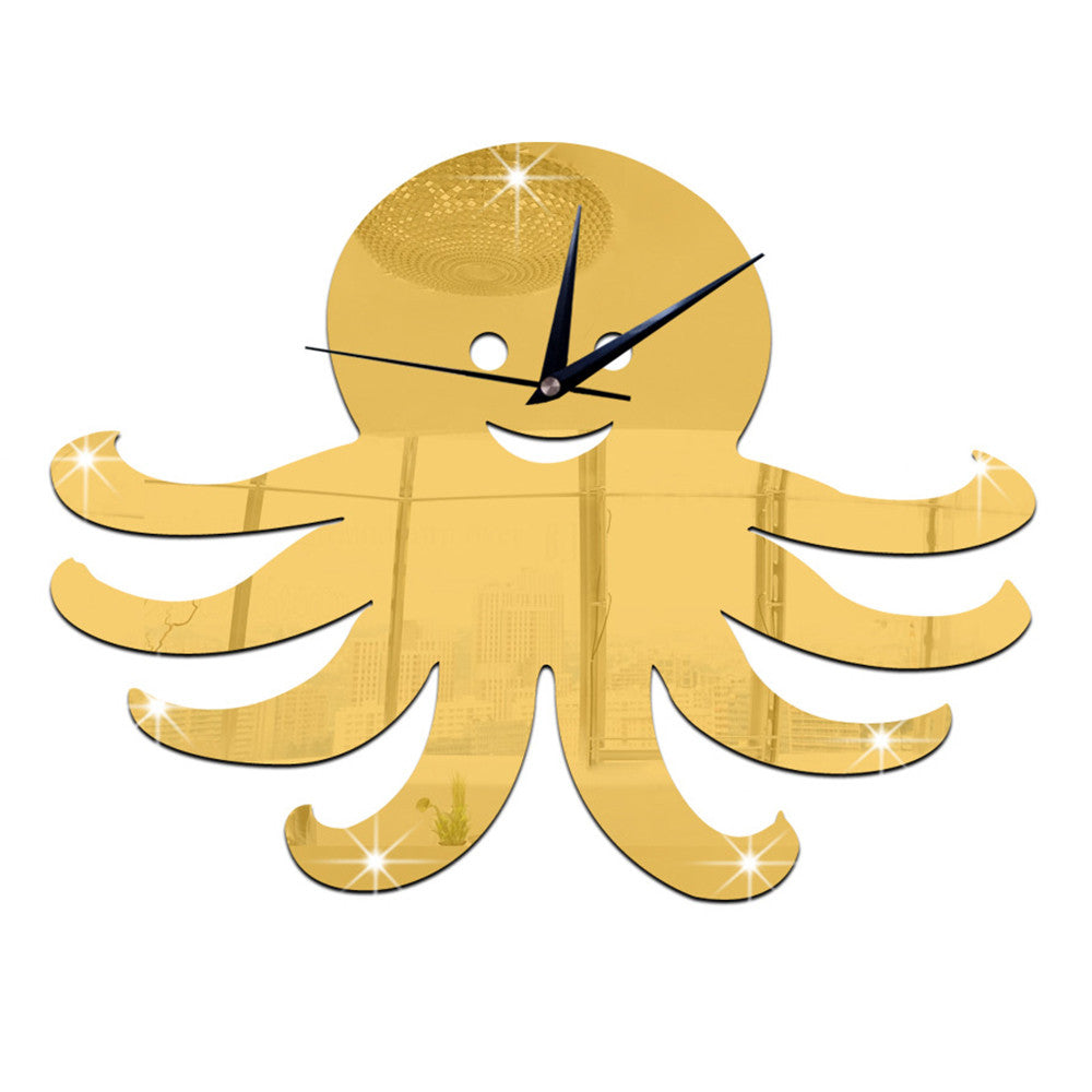 3D Decoration Kid Room Octopus Mirror Wall Clock   golden - Mega Save Wholesale & Retail