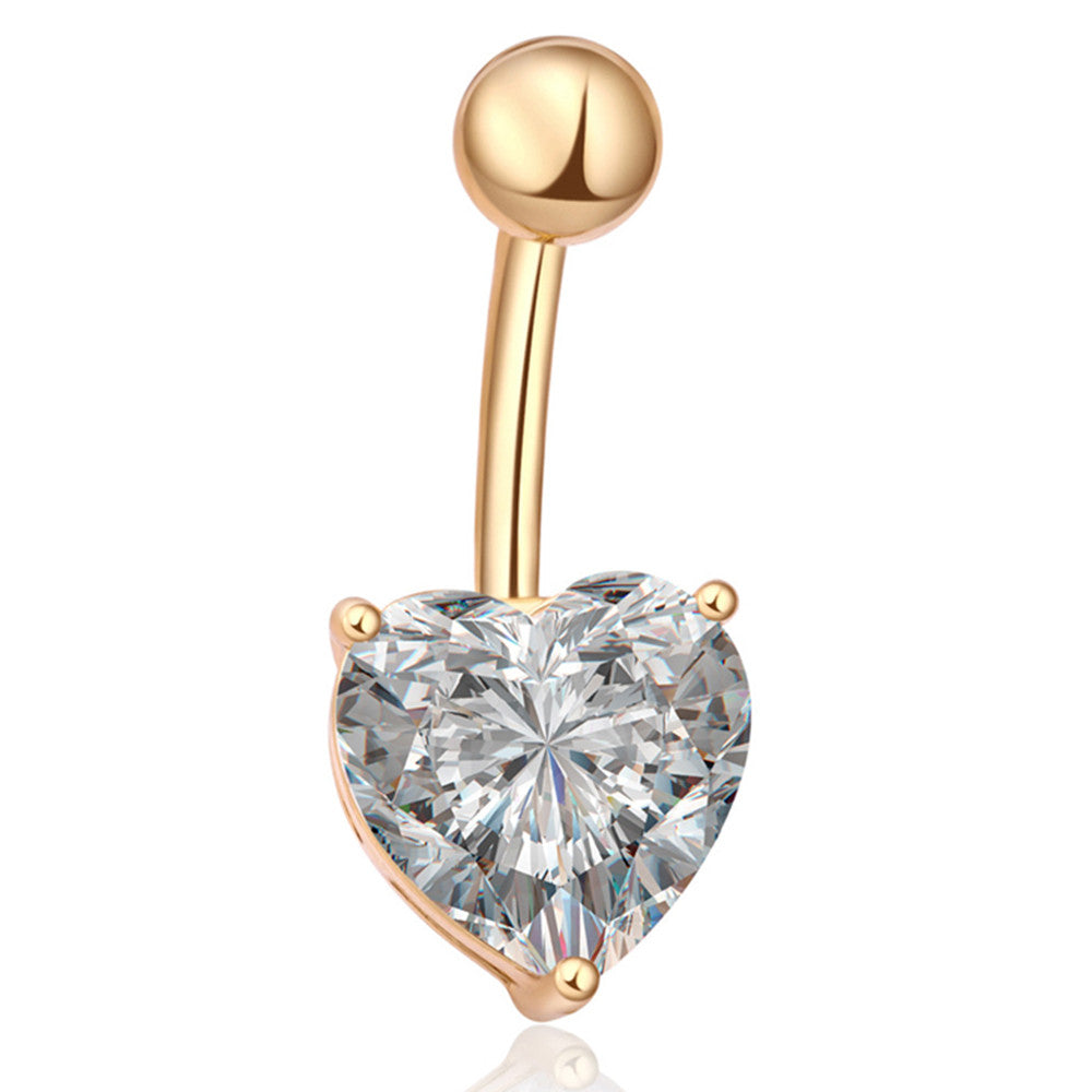 Love Heart Navel Buckle Ring Body Puncture Ornament Accessory Belly Dance  gold plated white zircon - Mega Save Wholesale & Retail
