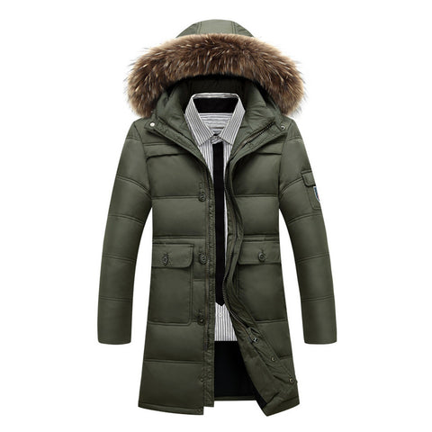 Long Down Coat Man Middle Old Age   army green   L - Mega Save Wholesale & Retail - 1