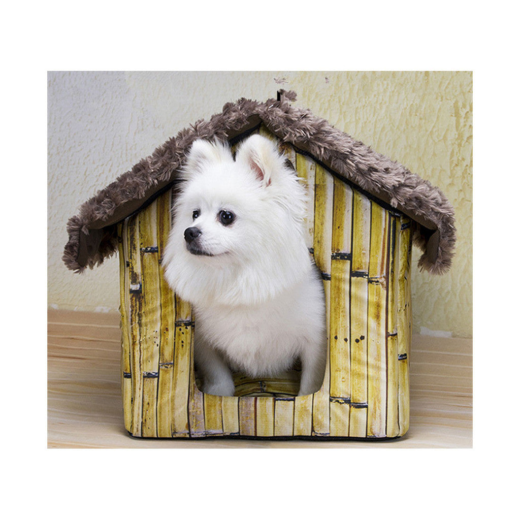 Fall Winter Teddy kennel pet kennel washable cottages Pomeranian Bichon small dog kennel dog house  Bamboo - Mega Save Wholesale & Retail - 1