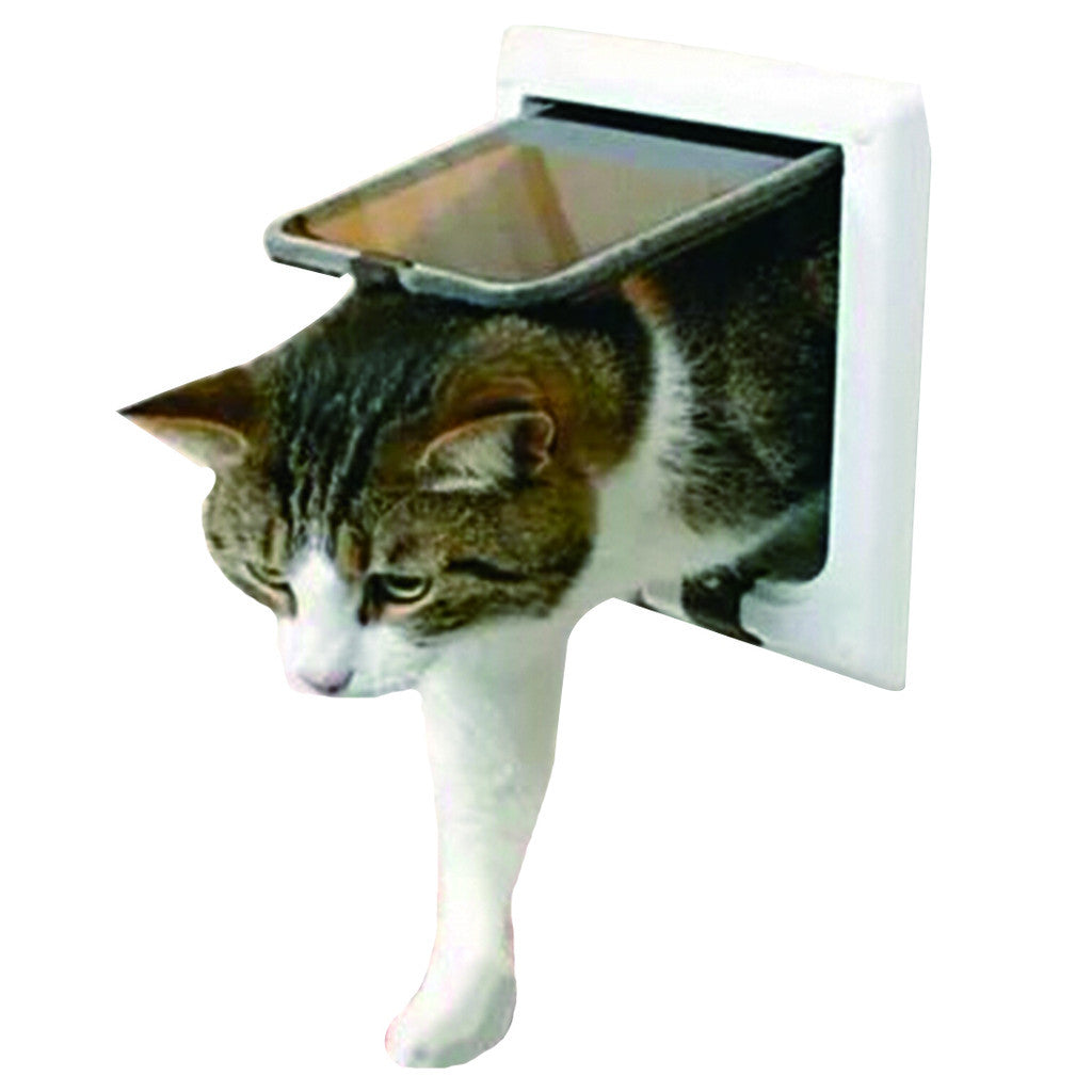 4 Way Lockable Cat Kitty Pet Safe Flap Door White Brown Size L Brown - Mega Save Wholesale & Retail