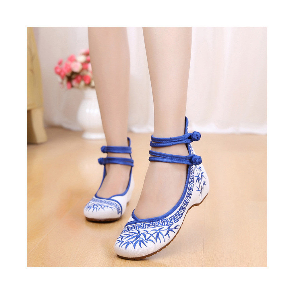 Blue Vintage Bamboo Embroidered Shoes for Woman Online with Colorful Ankle Straps & Slipsole - Mega Save Wholesale & Retail - 1