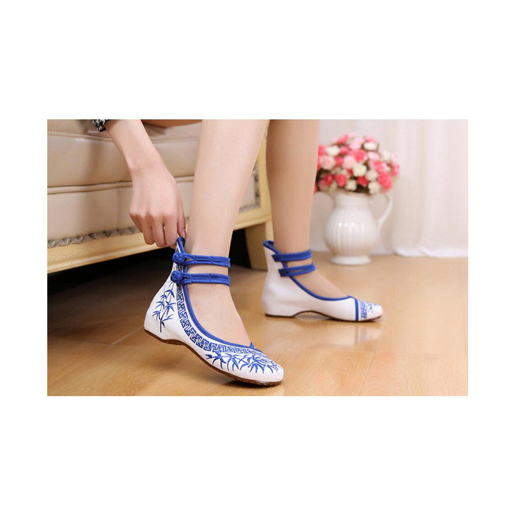 Blue Vintage Bamboo Embroidered Shoes for Woman Online with Colorful Ankle Straps & Slipsole - Mega Save Wholesale & Retail - 2