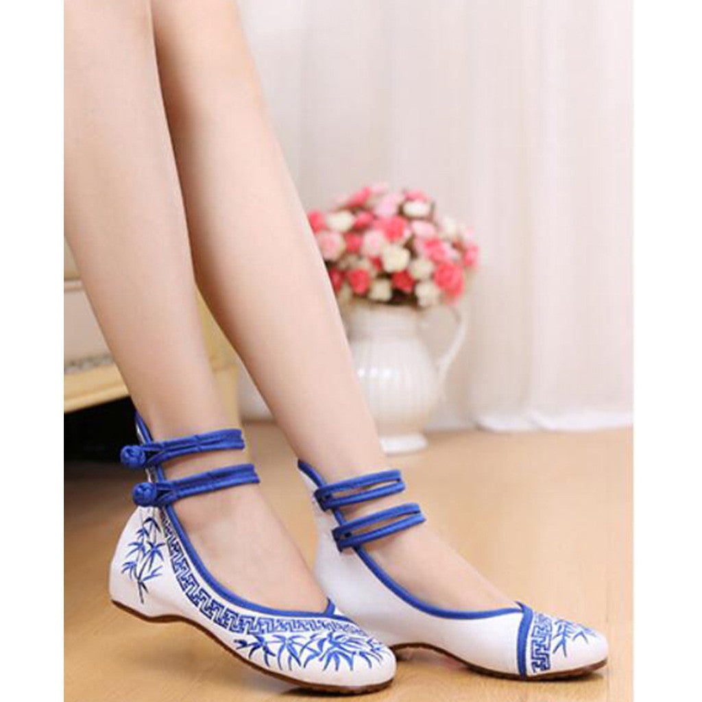 Blue Vintage Bamboo Embroidered Shoes for Woman Online with Colorful Ankle Straps & Slipsole - Mega Save Wholesale & Retail - 3