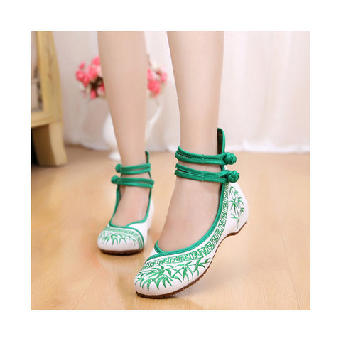 Vintage Bamboo National Style Increased within Slipsole Embroidered Shoes Old Beijing Cloth Shoes green - Mega Save Wholesale & Retail - 1