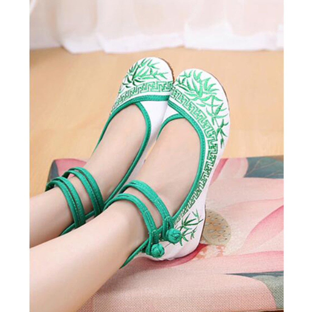 Vintage Bamboo Style Embroidered Old Beijing Cloth Shoes Green for Woman Online with Colorful Ankle Straps - Mega Save Wholesale & Retail - 2