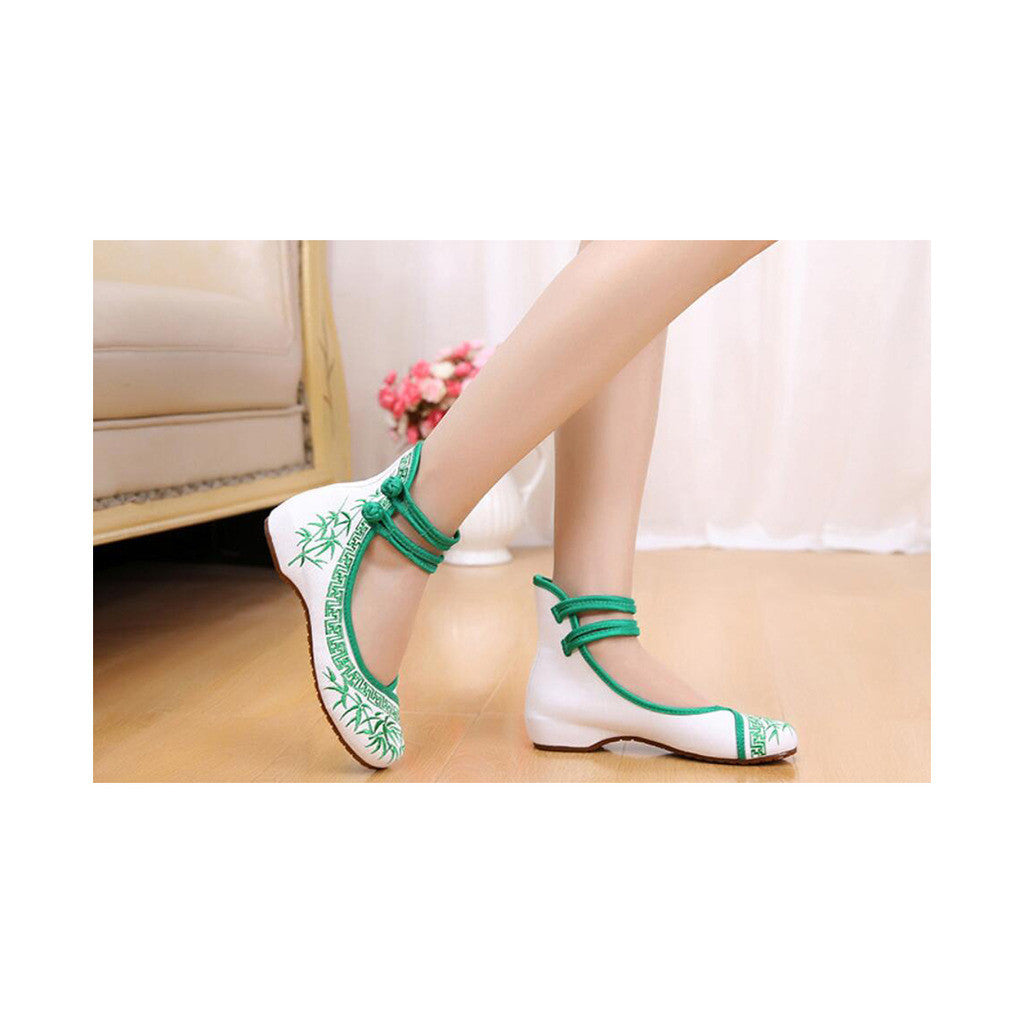 Vintage Bamboo Style Embroidered Old Beijing Cloth Shoes Green for Woman Online with Colorful Ankle Straps - Mega Save Wholesale & Retail - 3