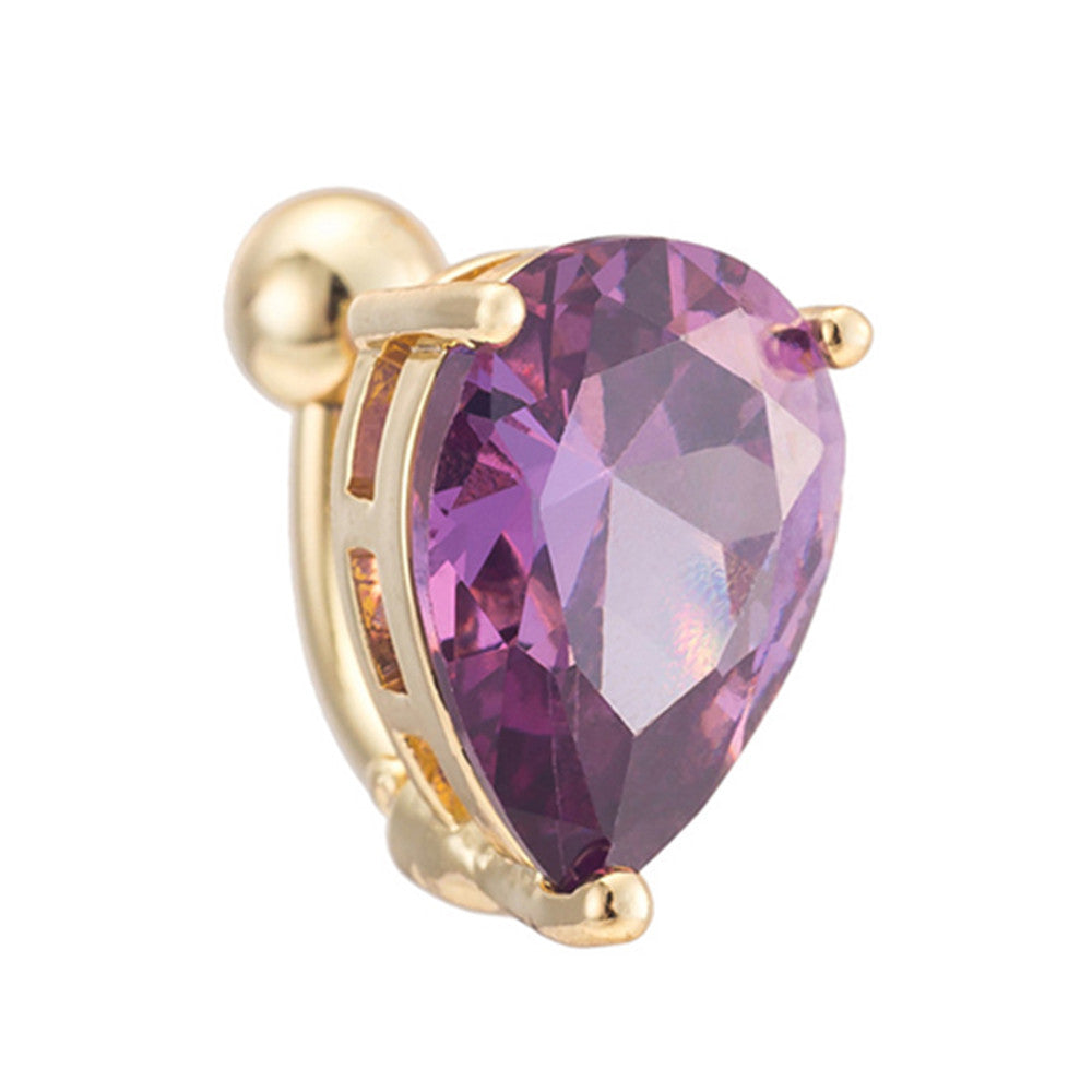 Body Puncture Ornament Water-drop Shape Navel Ring   gold plated purple zircon - Mega Save Wholesale & Retail