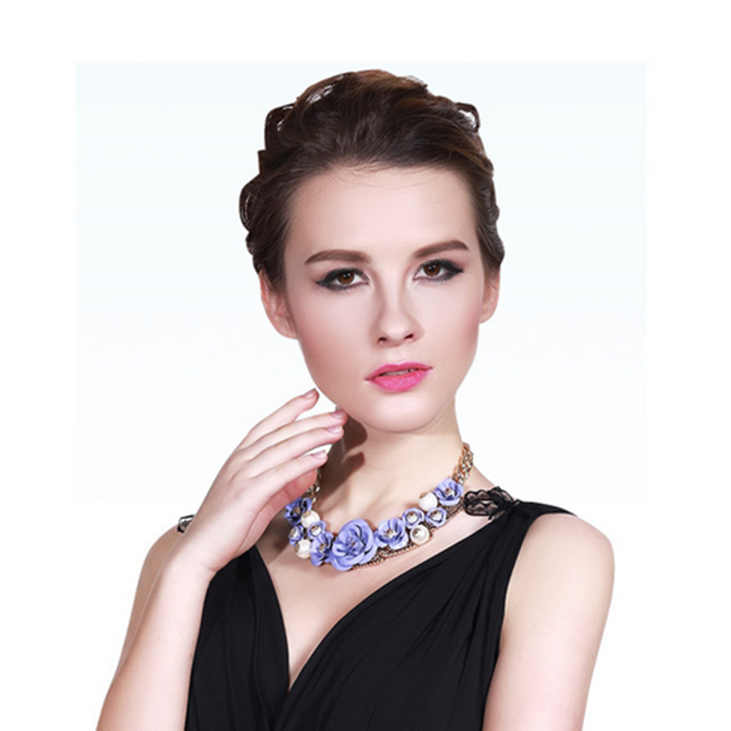 European Big Brand Exaggerated String Weaved Crystal Flower Necklace Short Clavicle Necklace Foreign Trade Ornament   black - Mega Save Wholesale & Retail - 4