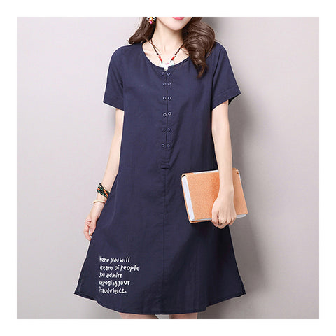 Middle Long Slim Pullover T-shirt Dress   navy   M - Mega Save Wholesale & Retail