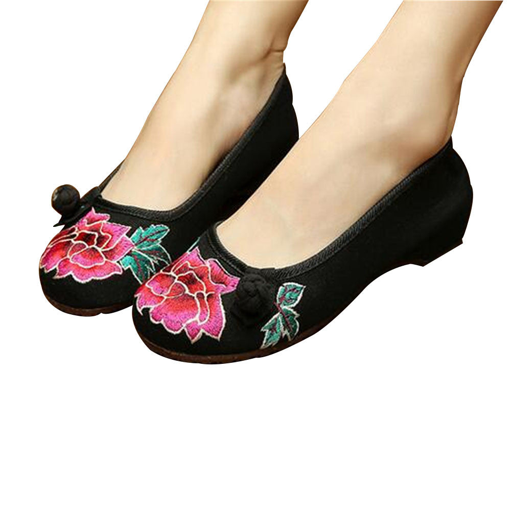 Vintage Chinese Embroidered Ballet Ballerina Cotton Black Flat Mary Jane Shoes for Women in Wonderful Floral Design - Mega Save Wholesale & Retail - 1
