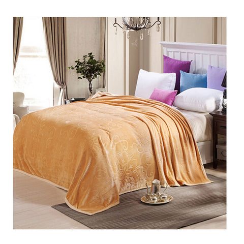 Clipped Pattern Blanket Bedding Throw Fleece Super Soft Warm Value camel - Mega Save Wholesale & Retail