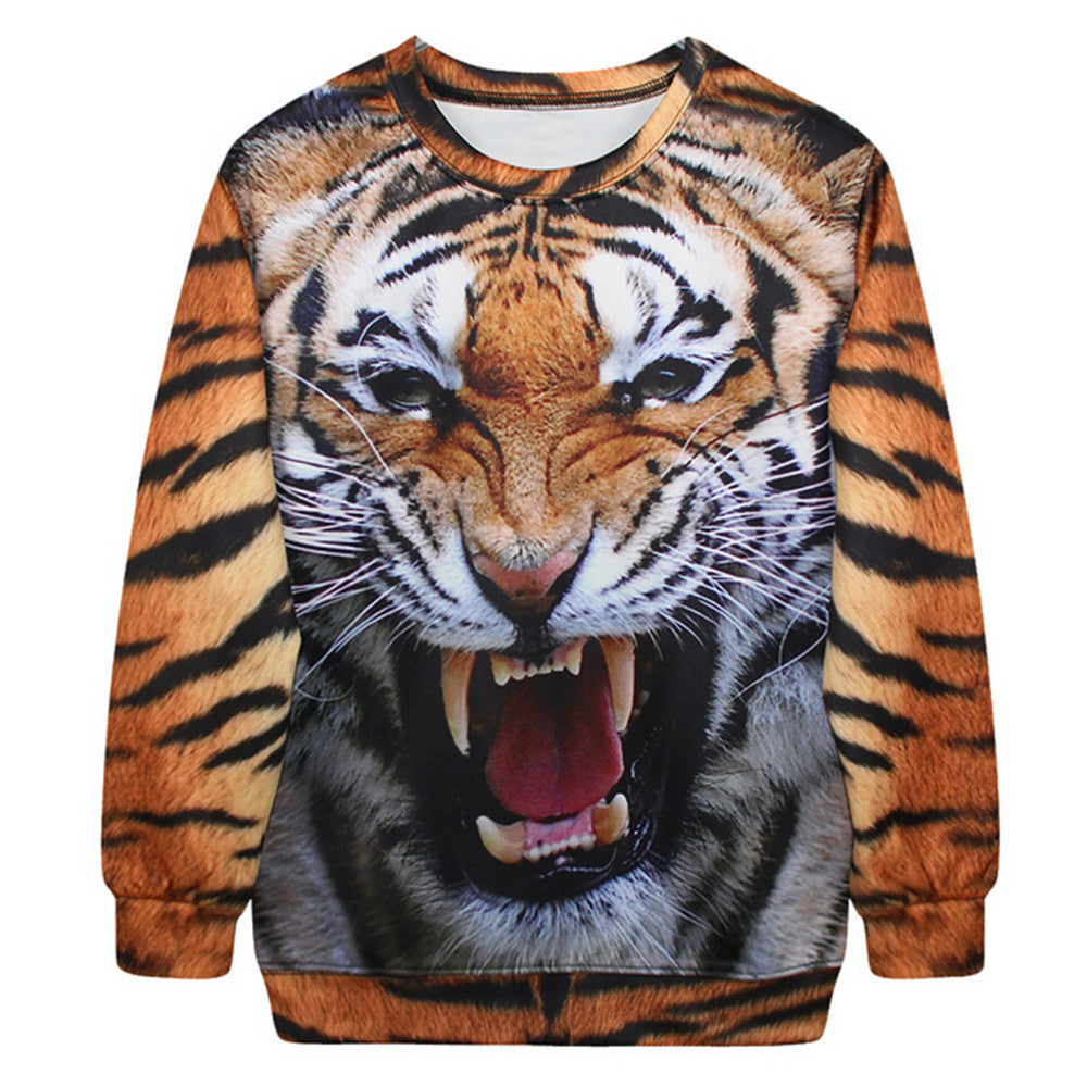Womens Mens 3D Print Realistic Space Galaxy Animals Hoodie Sweatshirt Top Jumper tiger - Mega Save Wholesale & Retail