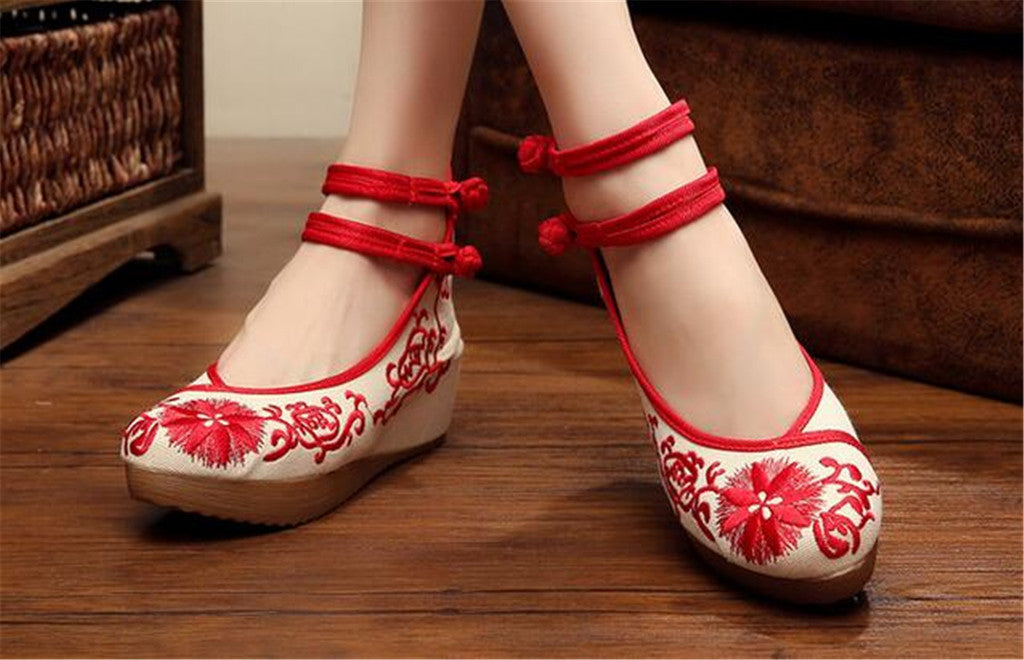 Mary Jane Chinese Shoes in Beautiful Red Embroidery & Ankle Straps with Floral Patterns - Mega Save Wholesale & Retail - 2