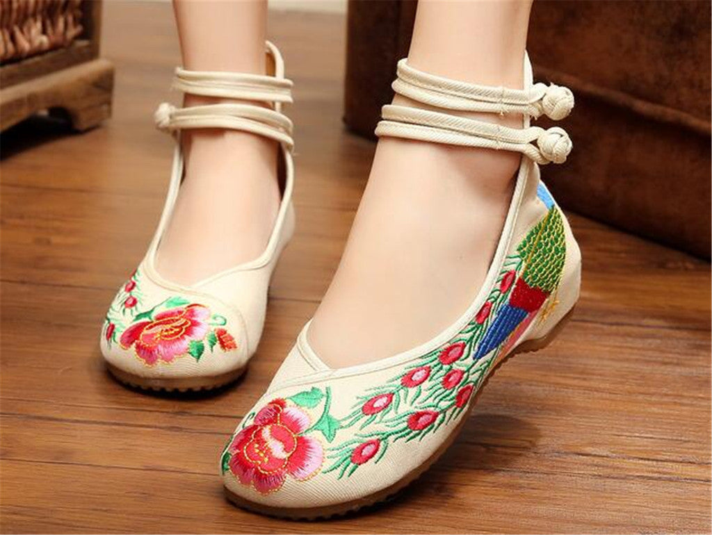 Chinese Embroidered Shoes Women Ballerina  Cotton Elevator shoes Double Pankou White - Mega Save Wholesale & Retail - 2