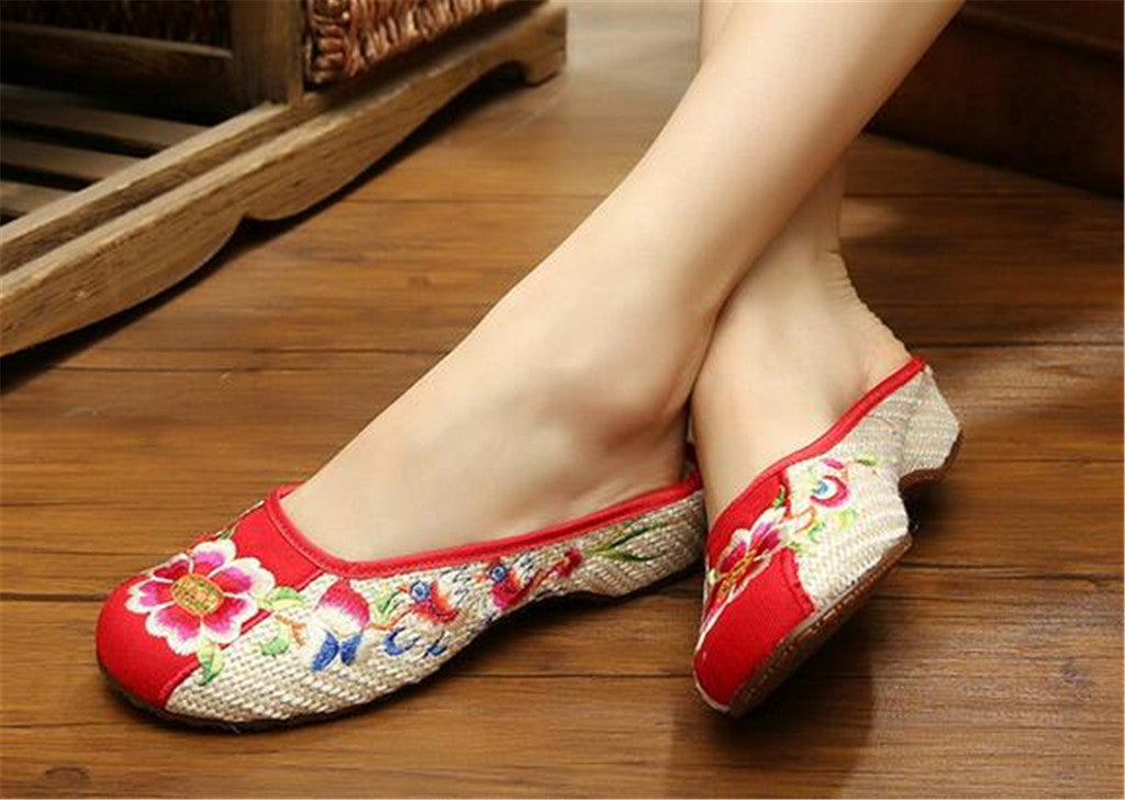 Chinese Embroidered Shoes for Women in Red Floral Design & Ventilated Cotton - Mega Save Wholesale & Retail - 4
