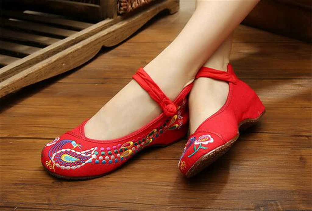 Vintage Embroidered Flat Ballet Ballerina Cotton Chinese Mary Jane Shoes for Women in Dazzling Red Floral Design - Mega Save Wholesale & Retail - 3