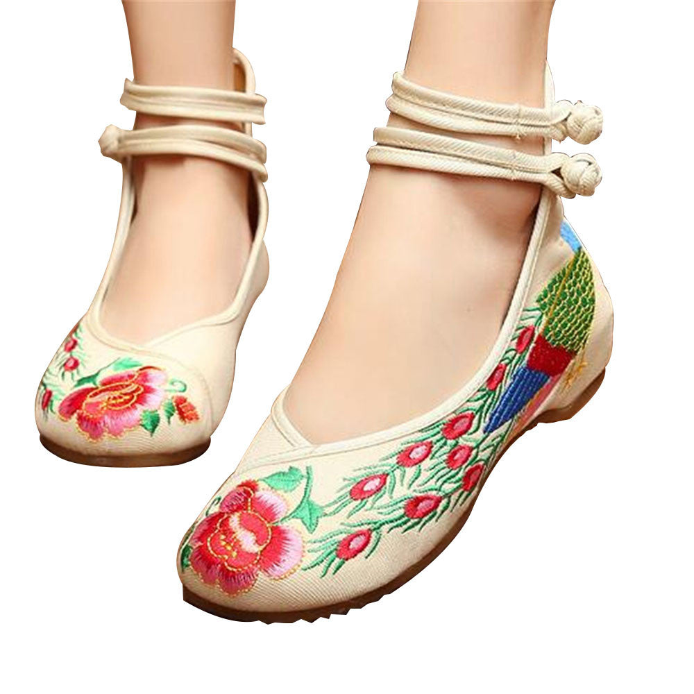Chinese Embroidered Shoes Women Ballerina  Cotton Elevator shoes Double Pankou White - Mega Save Wholesale & Retail - 1