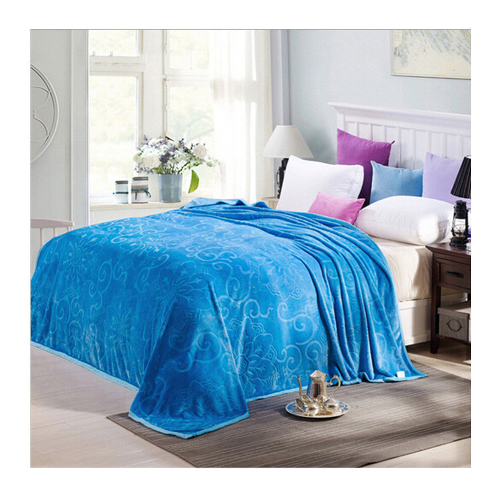 Clipped Pattern Blanket Bedding Throw Fleece Super Soft Warm Value sky blue - Mega Save Wholesale & Retail