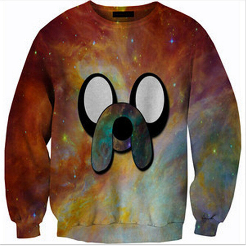 Womens Mens 3D Print Realistic Space Galaxy Animals Hoodie Sweatshirt Top Jumper Brown dog - Mega Save Wholesale & Retail