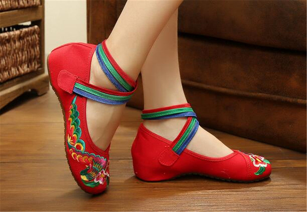 Chinese Embroidered Ballerina Red Mary Jane Shoes for women with Colorful Ankle Straps & Floral Design - Mega Save Wholesale & Retail - 2