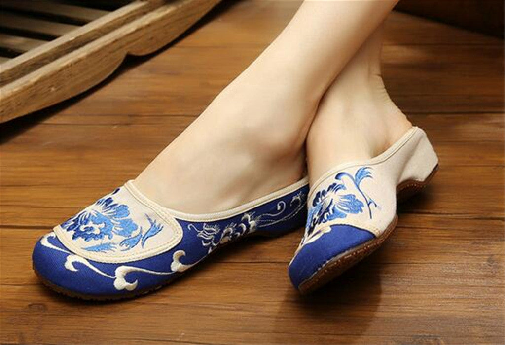 Cotton Mary Jane Shoes for Women in Velvet Blue Chinese Embroidery & Floral Design - Mega Save Wholesale & Retail - 3