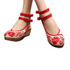 Mary Jane Chinese Shoes in Beautiful Red Embroidery & Ankle Straps with Floral Patterns - Mega Save Wholesale & Retail - 1