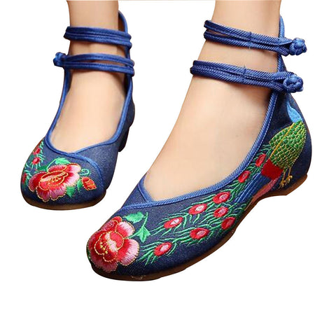 Chinese Embroidered Shoes Women Ballerina  Cotton Elevator shoes Double Pankou Blue - Mega Save Wholesale & Retail - 1